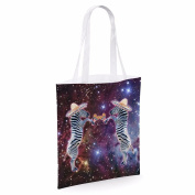 Cotton Tote Bag For Women Zebra Playing Maracas In Space Sublimation Print Shopper Shoulder Canvas Bags