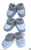NEW 3 Set Baby Booties Babies Bootees Sock Slipper Set Roll Up 100% Cotton GREY