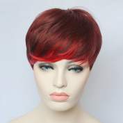 Hmy Sexy Short Chestnut Mixed Colour Side Bangs Straight Synthetic Hair Full Wig for Women