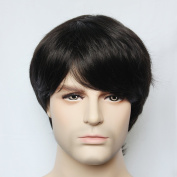 Men's Wig Short Straight Synthetic Hair Capless Natural Black Handsome Mens Wig With Bang