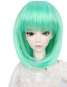 Drasawee Synthetic BJD Doll Wig Hair Style Head Green 20cm - 23cm