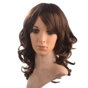 Namecute Ladies Popular Medium Natural Curly Wig Ombre Brown Heat Resistant Kanekalon Wavy Wigs+Free Wig Cap