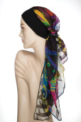 Chemo Woman Lova Black Hat and Scarf Black and Yellow