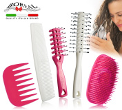 Set brush detangling hair for woman. Great in the shower, or for drying. For wet, dry, long, short, straight, curly hair. Brushes suitable to distribute evenly creams and hair conditioner. 100% made in Italy.