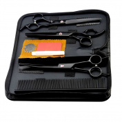 Surker 3 pcs Black Pets Dog Cat Hair Shear Repair Tool Beauty Scissors Grooming Set With Comb