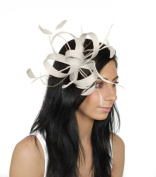 Ascot Sinamay and Feather Ascot Hat 122 With Headband