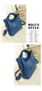 Versatile Leather Handbag - Blue