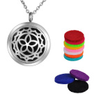 Aromatherapy Oil Diffuser Necklace, Hollow Flower, Stainless Steel