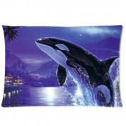 Amxstore Cotton Polyester Decorative Throw Pillow Cover Cushion Case Pillow Case,one side Orca Killer Whales