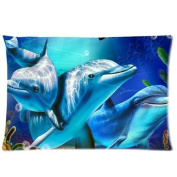 1AlexStore Pillowcase Standard 50cm x 80cm two Sides Zippered Pillow Cover Lovely Dolphins Starfish