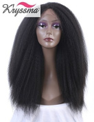 K'ryssma Lace Front Yaki Wigs Black Kinky Straight Soft Synthetic Wig with Baby Hair Heat Retardant Half Hand Tied Heat Resistant Fibre 60cm