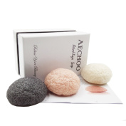 AECHOO Natural Konjac Puff Sponge 3 Pack Facial Scrubber Brushes Buffer for Daily Face Cleansing Gentle Help Sensitive and Oily Skin Remove Makeup