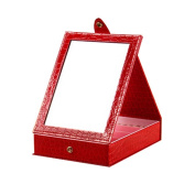 Table Folding Cosmetic Containers Red Colour with Mirror 14x11x5 cm