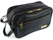 Mens Rowallan Black Leather Wash Bag Travel Toiletries Travel Stylish