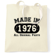 Made in 1976 All Original Parts 40th Birthday fortieth Shopping Carrier Tote Bag