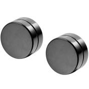 MunkiMix 8mm 10mm Stainless Steel Stud Earrings Silver Black Plug Expander Non Pierce Body Jewellery Magnetic Men,Women