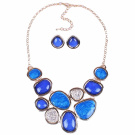 Sky Blue Shell Like Geometric Bib Statement Chain Necklace Stud Earrings Set