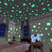 100pcs Glow In The Dark Plastic Stars Stickers Baby Kids Ceiling Wall Room