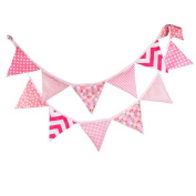 G2PLUS® 3.3 M Triangle Pennant Flags Vintage Bunting Floral Cotton Banner Kit Pennant Garland For Wedding,Festivals,Nursery,Outdoor Pennant Hanging Decoration