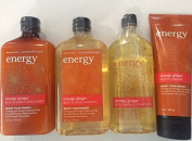 Bath & Body Works Full Size Orange Ginger Shampoo, Conditioner, Body Wash/Foam Bath and Body Cream Gift Set