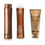 Brazilian Blowout Shampoo/Conditioner 350ml, & Brazilian Blowout Acai Protective Thermal Straightening Balm, 240ml