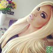 613# blonde human hair full lace wig 30cm