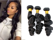 Ruini 100% Unprocessed Brazilian Virgin Hair loose Wave Natural Black Colour Curly Wave Virgin Human Hair Weft Weave Extension 310ml 3 Bundles Pack (12 14 16 Inch)