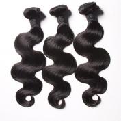 SATAI Remy Human Hair 3 Bundles Body Wave Malaysian Hair #1b Malaysian Virgin Hair, 100% Natural Hair Weave, Double Weft