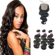 Dreambeauty 7a Virgin Brazilian Hair 4 Bundles With 1pc Slik Base Closure(4*4) 100% Human Hair Extensions Body Wave Natural Colour Silk Base Closure
