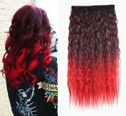60cm Curly Black to Red Two Colours Ombre Hair Extensions, One Piece Full Head Hair Weft 50cm Curly Off Black to Silver Grey Two Colours Ombre Hair Extensions, One Piece Full Head Hair Weft RHS617