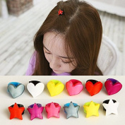 12pcs Bangs Heart Star Style Mini Hair Claw Clip Hair Pin for Girl Baby Kids Mix Coloured