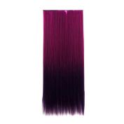 AENMIL One Piece Wig 5 Clips Colourful Long Straight Synthetic Thick Hair Extensions Hairpieces for Women -