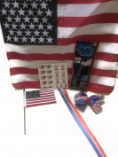 USA Red, White and Blue Hair Bow, Clip-on Hair, Tattoos, XL Bandana, Flag & Glow Flag Bundle - 6 Items