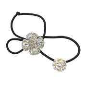 Rhinestone Flower Double Ball Ponytail Holder, Gold