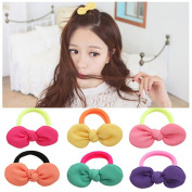 Lovef 9 Pcs Girl's Bowknot Hair Rope Ponytail Kids Holder Elastic Hair Ties