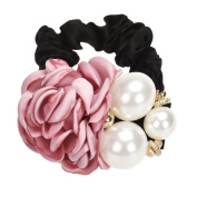Canserin Pearls Beads Rose Flower Hair Band Rope Scrunchie Ponytail Holder