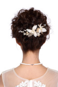 HailieStudio Handmade Crystals Rhinestones Pearls Golden Leaf Bridal Headpiece