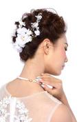 HailieStudio Women's Handmade Rhinestones Pearls Floral Bridal Wreath