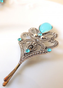 Sara Attali Design Vintage Hair Pin Bobby Pins Bridal Hair Clip Royal vintage Wedding Hair Pin Turqoise