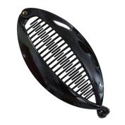 AENMIL Set of Two Banana Clip Hair Clincher Quality Shatterproof Resin Tendon Vertical Hairpin Lentils Fish Folder - Black