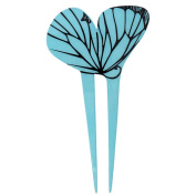YOY Fashion Hair Decor Japanese Traditional Style Hair Sticks Pins Picks Pics Forks for Women Girls Hair Accessory Two Prong with Butterfly, Blue
