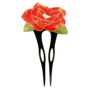 YOY Fashion Hair Decor Japanese Traditional Style Hair Sticks Pins Picks Pics Forks for Women Girls Hair Accessory Two Prong with Rose, Black