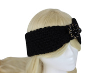 Womens Knit Head Wrap Headband with Centre Flower - Thick