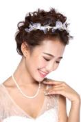 HailieStudio Handmade Golden Organza & Pearls Bridal Headband