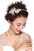 HailieStudio Handmade Women's Wedding White Leaf Bridal Headpiece