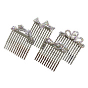 Rhinestone Assorted Set of Mini Hair Combs, Silver