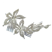 Crystal Flowers Tri-Level Hair Comb, Silver