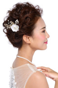 HailieStudio Handmade Bridal Pearls Rhinestones Wedding Golden Floral Hair Comb