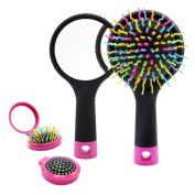Detangling Hair Brush, Rainbow S-Curl Cushion Brush, Detangle Hair Easily, Good For Wet Or Dry Hair, Adults & Kids,Blak