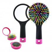 Detangling Hair Brush, Rainbow S-Curl Cushion Brush, Detangle Hair Easily, Good For Wet Or Dry Hair, Adults & Kids,Blak